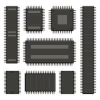 Computer chip isolated on white background vector