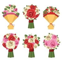 Rose bouquet isolated on white background vector