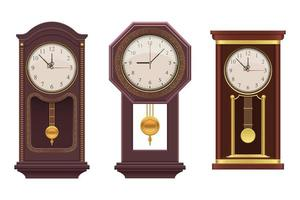 Pendulum vintage clock on white background vector