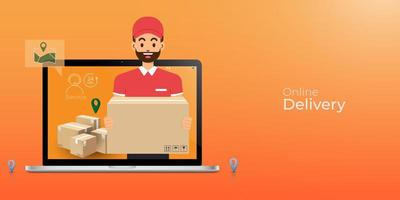 Online delivery service and tracking concept vector