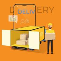 Online delivery service and tracking smartphone concept vector
