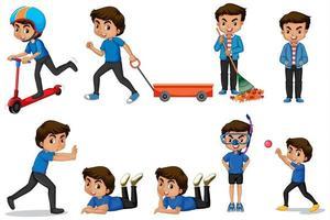 chico de camisa azul haciendo diferentes actividades vector