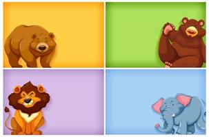 Background template design with plain color and many animals