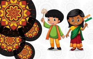 Mandala gray pattern design background with Indian girl and boy
