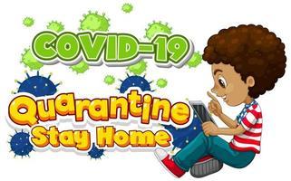 diseño de fuente para cuarentena de palabras quédese en casa con niños trabajando vector