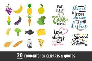 Food and kitchen icons and quotes vector