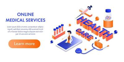Healthcare and online medical services isometric design vector