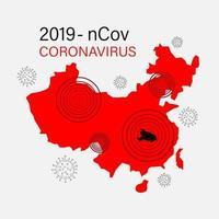 Spread of Coronavirus in Asia vector
