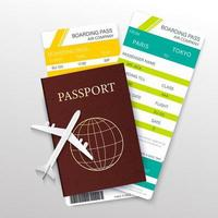 Boarding pass and passport with airplane vector
