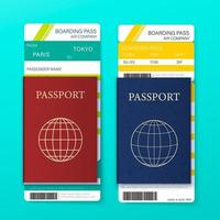 Boarding pass and passport set