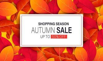 Banner para la venta de otoño con coloridas hojas de otoño vector