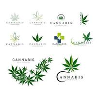 Set of green medical cannabis logos
