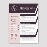 Resume template with purple angled section borders
