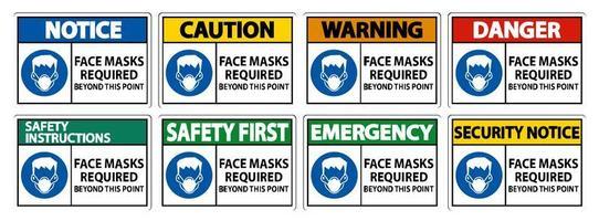 se requieren máscaras faciales más allá de este conjunto de signos de punto