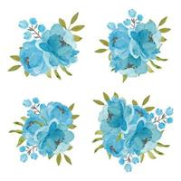 Set of blue peony flower bouquets on white