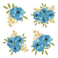 Watercolor hand painted blue flower blossom bouquet set