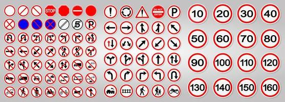 Set of Road and Traffic Warning Signs