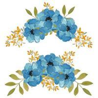 arranjo de flores em aquarela azul