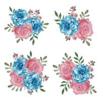 Watercolor floral bouquet in blue pink color vector