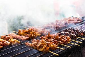 Skewer chicken pieces