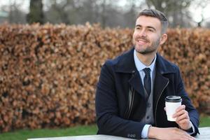 Businessman taking a coffee break