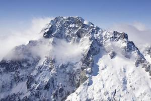 Aerial photo of snowy mountain, New Zealand