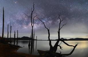 milky way thailand above reservoir  cool tone.