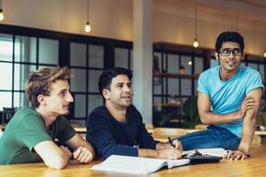 Positive employees watching presentation photo