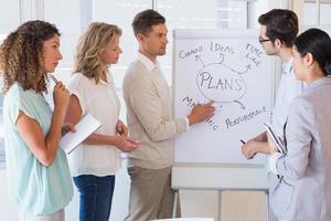 equipo informal empresaria escuchando presentación foto