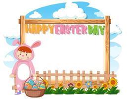 fille en costume de lapin pour Pâques