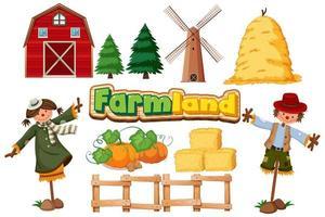 Set of farmland items vector