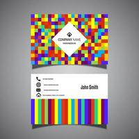 Colorful pixel business card design vector