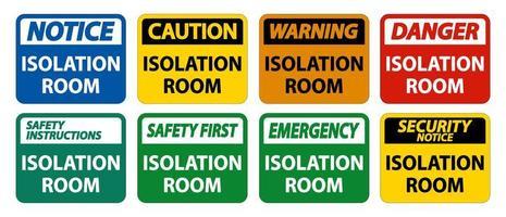 sinal da sala de isolamento vetor