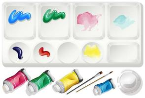 Watercolor Paint and Brush Set vector