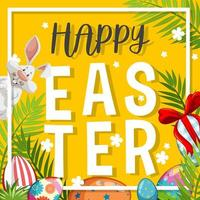 Easter Background with White Bunny and Painted Eggs