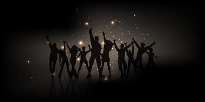 Banner de gente de fiesta con luces brillantes.