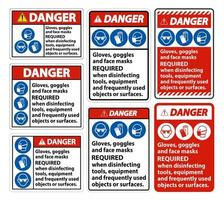 perigo, máscaras faciais necessário sinal vetor