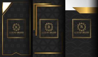conjunto de modelos de embalagem preto e dourado vetor