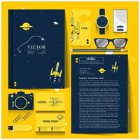 Corporate identity set with space exploration concept vector