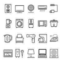 Household appliances outline icon set vector