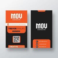 cartão de visita vertical laranja e preto vetor