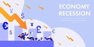 Economy recession concept with falling symbols and running people vector
