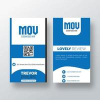 design de onda azul e branco cartão de visita vertical