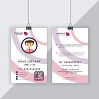 carte d'identité des lignes circulaires violet et rose pastel