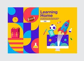 Learning home banner with elements flying out of monitor vector