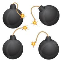 Bomb with burning fuse set vector