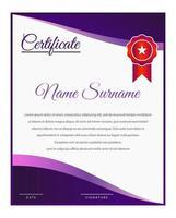 modelo de certificado de gradiente roxo elegante