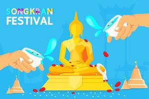 Songkran Festival Poster with Water Sprinkled on Buddha