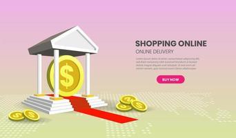concepto de banca en línea con monedas vector