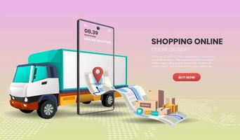 Online Delivery Service Concept with Truck and Smartphone